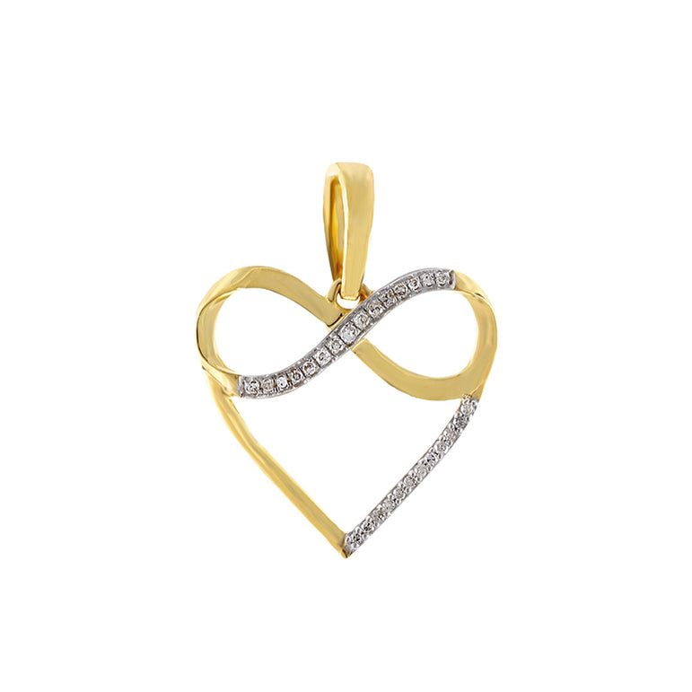 Yellow Gold Natural Diamond Infinity Heart Necklace
