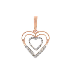 1/6ct Double Open Heart Diamond Necklace For Women