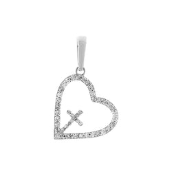 White Gold Cross Inside Open Heart Diamond Necklace