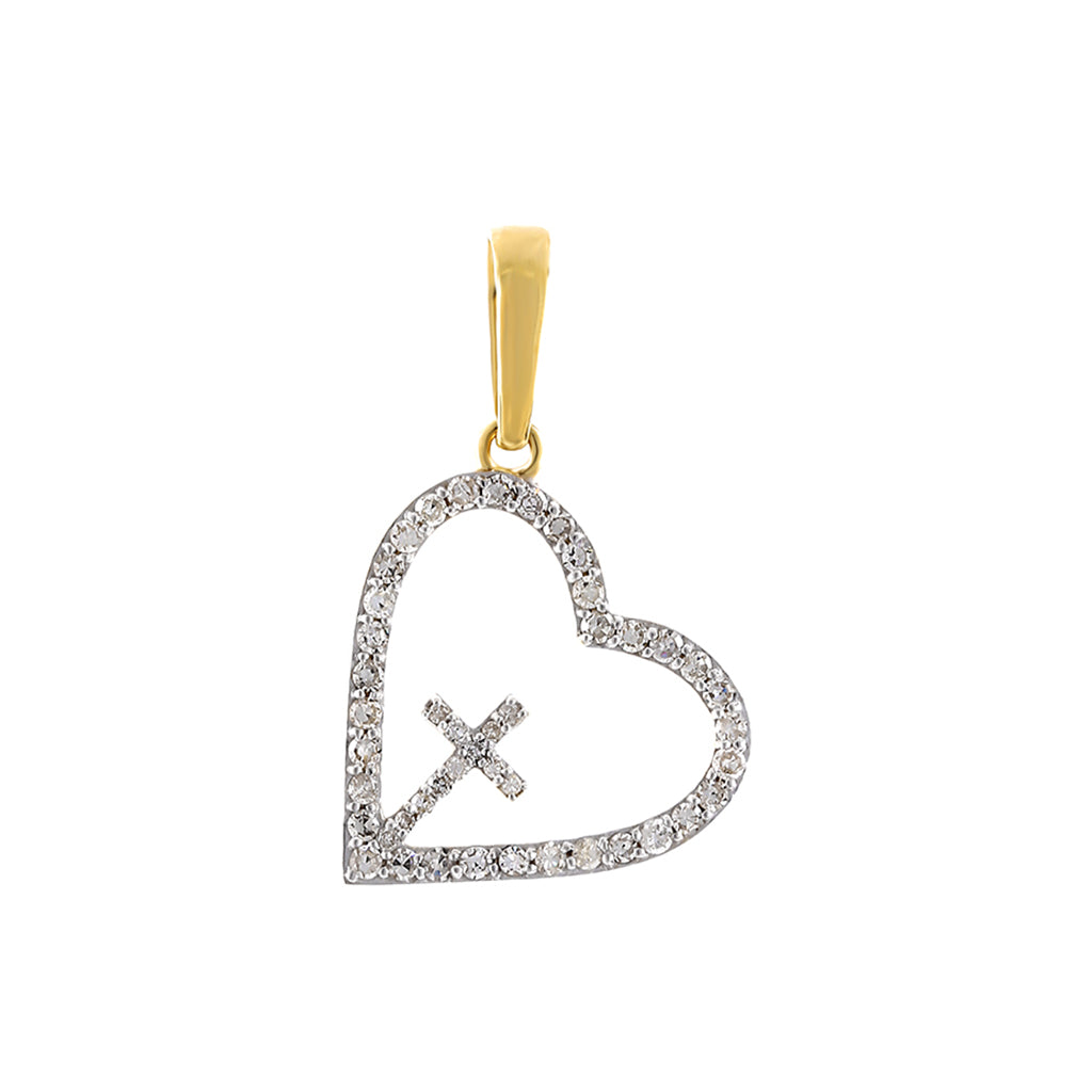 Yellow Gold Cross Inside Open Heart Diamond Necklace