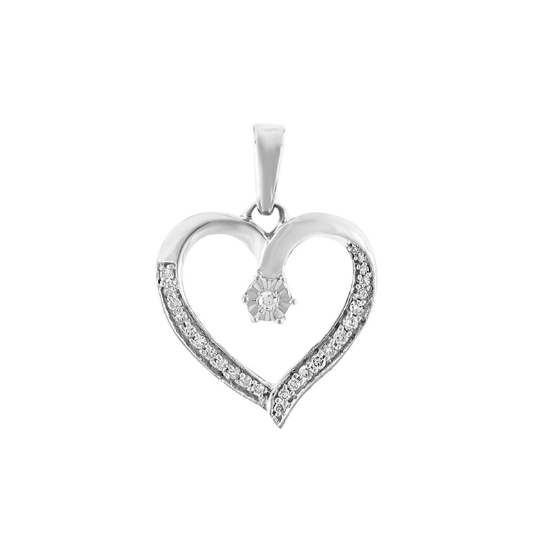 White gold Open Heart Diamond Necklace