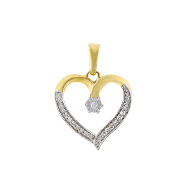 Yellow gold Open Heart Diamond Necklace