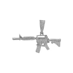White Gold AK-47 Rifle Gun Pendant