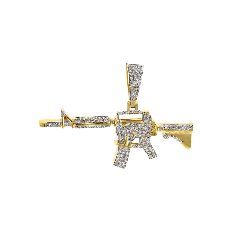 Yellow Gold AK-47 Rifle Gun Pendant