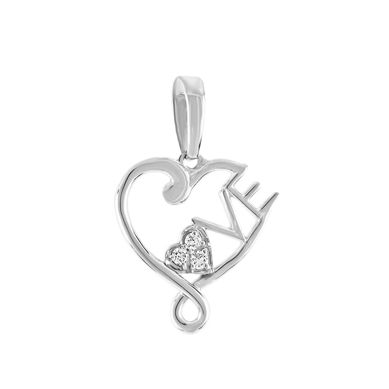 1/10ct Open Heart Diamond Necklace With Love Letter For Women