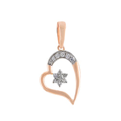 Rose Gold Open Heart Diamond Necklace With Star