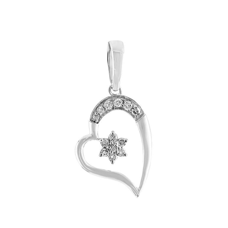Silver Gold Open Heart Diamond Necklace With Star
