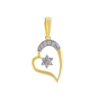 Yellow Gold Open Heart Diamond Necklace With Star