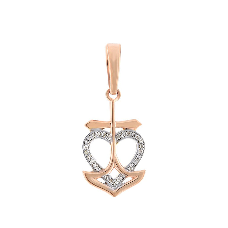 Rose Gold Open Heart Diamond Necklace With Cross
