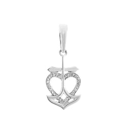 White Gold Open Heart Diamond Necklace With Cross