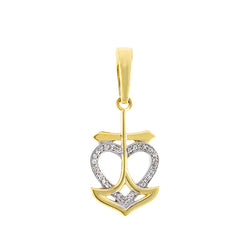 Yellow Gold Open Heart Diamond Necklace With Cross