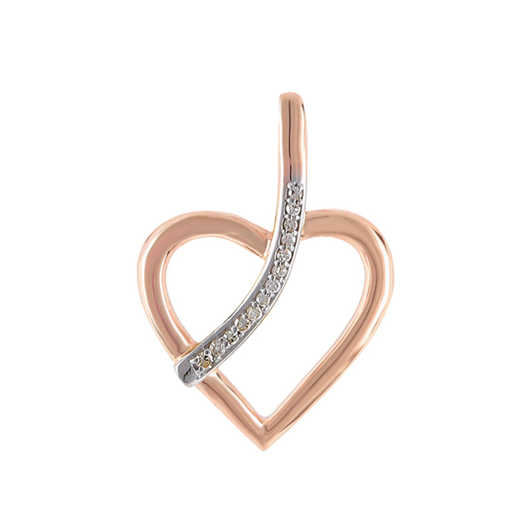 Rose Gold Natural Diamonds Heart Necklace With Line