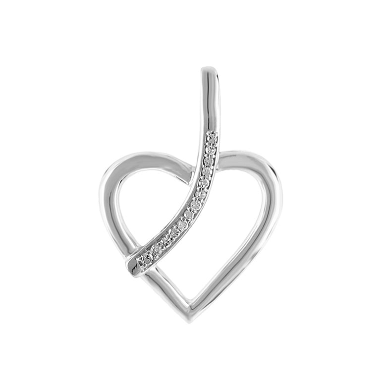 1/10ct Natural Diamonds Heart Necklace With Line for women