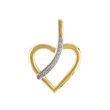 Yellow Gold Natural Diamonds Heart Necklace With Line