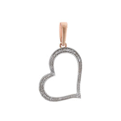 Rose Gold Natural Diamonds Open Heart Necklace