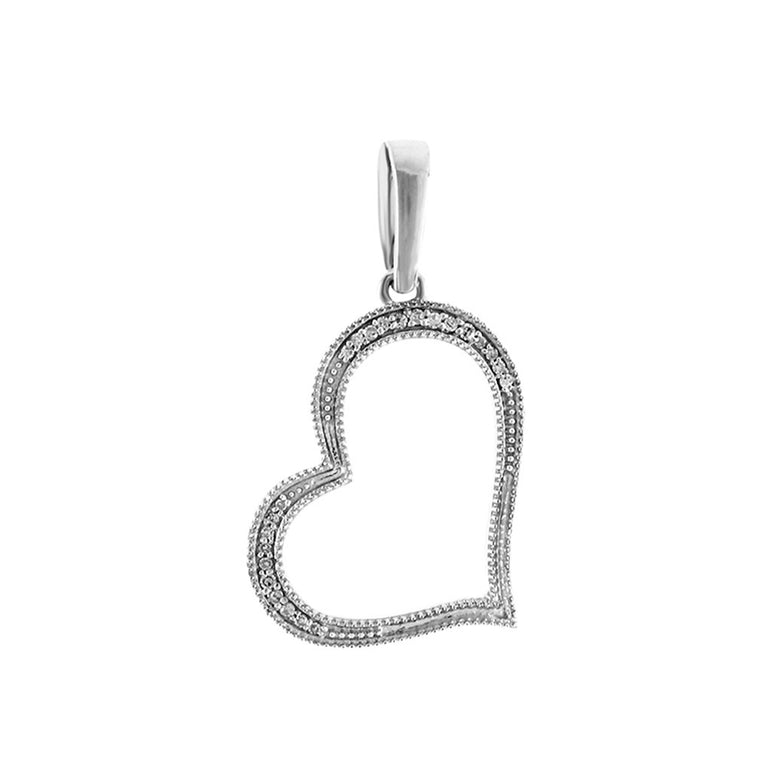 White Gold Natural Diamonds Open Heart Necklace