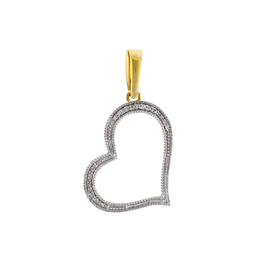 Yellow Gold Natural Diamonds Open Heart Necklace