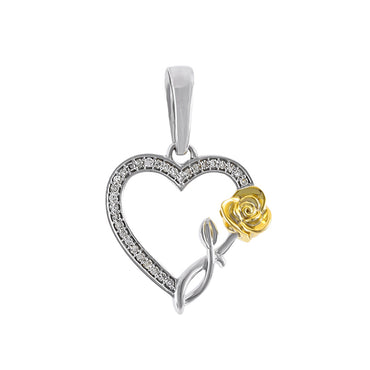 Yellow Gold Open Heart Necklace with Rose Flower