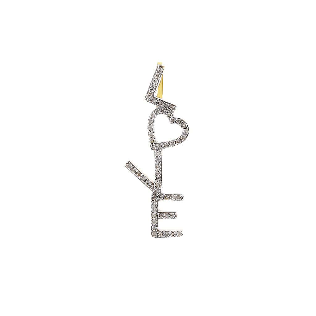 1/5 Cts. Round Diamond LOVE Letter Pendant By Fehu Jewel