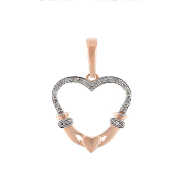 Rose Gold Diamonds Open Heart Necklace