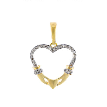 Yellow Gold Diamonds Open Heart Necklace