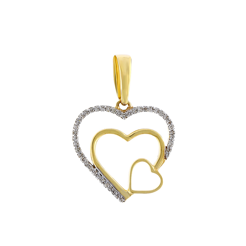 Yellow Gold Diamonds Triple Open Heart Necklace