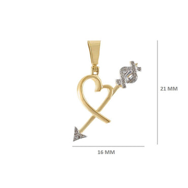 1/10 Cts. Natural Diamond Heart & Arrow Pendant By Fehu Jewel