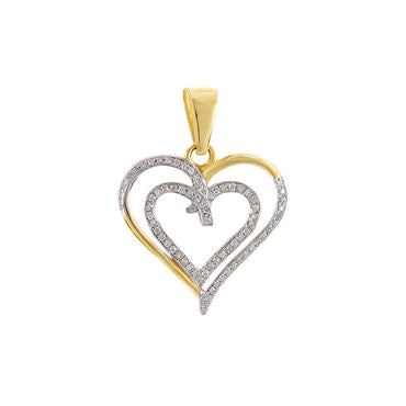 Double Heart Pendant 1/10 Cts. Natural Diamond By Fehu Jewel