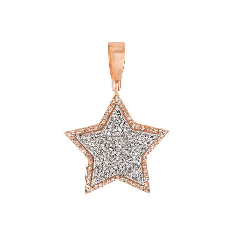 Rose Gold Iced Out Star Pendant