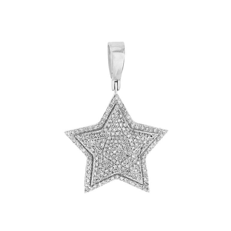 White Gold Iced Out Star Pendant