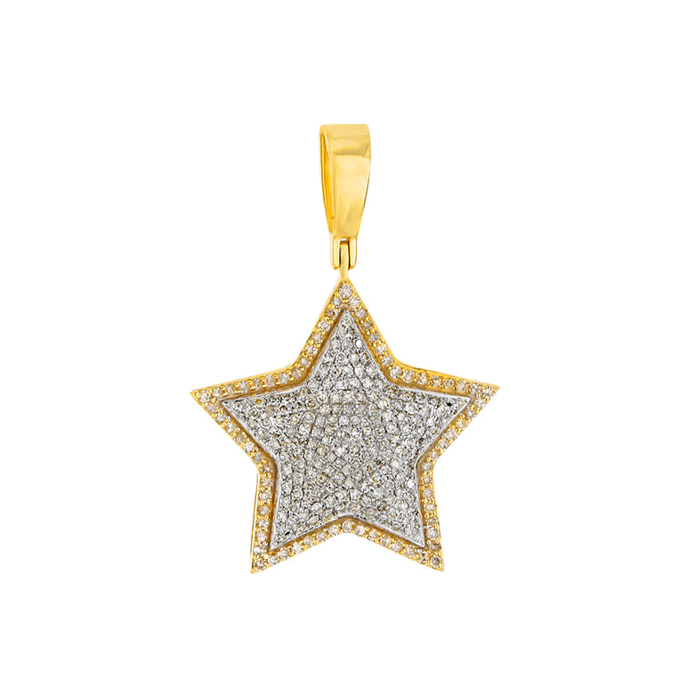 Yellow Gold Iced Out Star Pendant