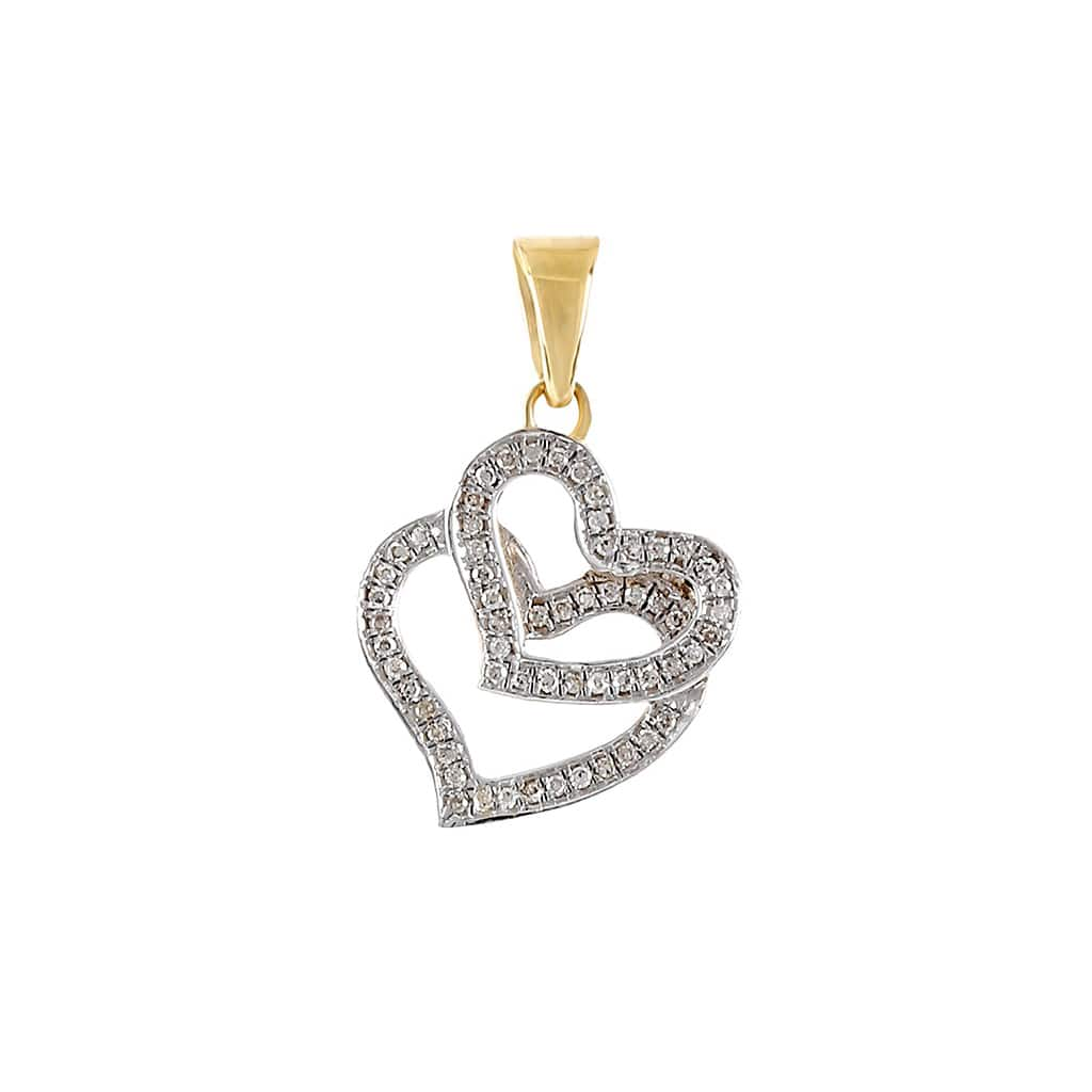 1/10 Ctw. Diamond Double Heart Pendant By Fehu Jewel