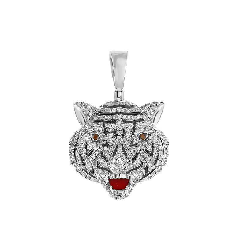 White Gold Drake Tiger iced out pendant