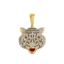 Yellow Gold Drake Tiger iced out pendant
