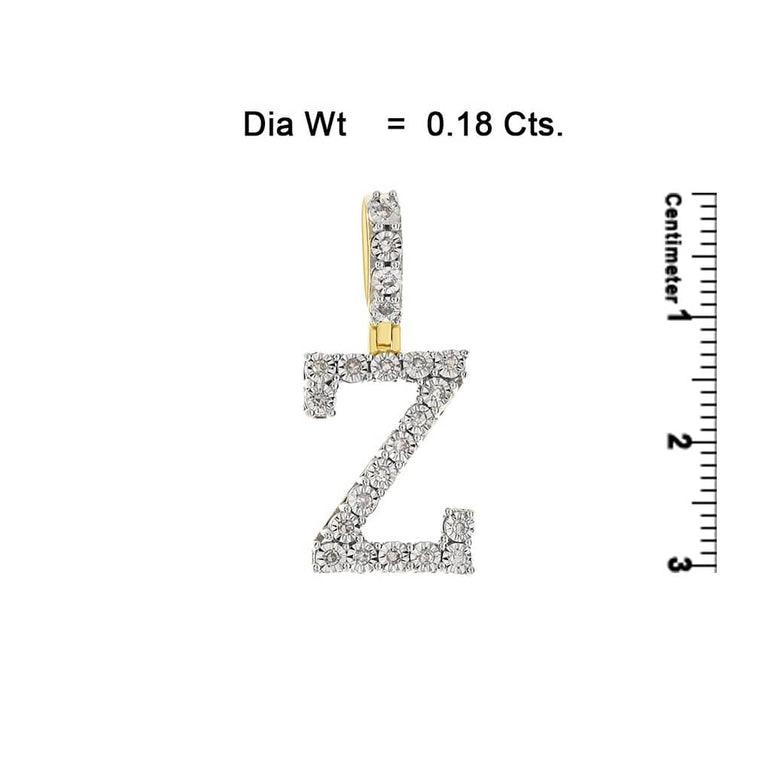 Yellow Gold Illusion Setting Diamond Initial Letter A to Z Pendant