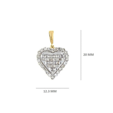3/9 Cts. Baguette & Round Diamond Heart Pendant By Fehu Jewel