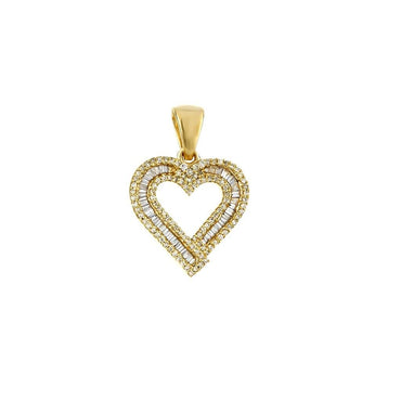 1/3 Cts. Baguette & Round Diamond Heart Pendant By Fehu Jewel