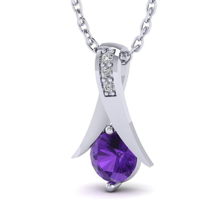 Amethyst Gemstone with Natural Diamond Gold Plated Silver Pendant