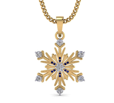 Diamond Snowflake Necklace yellow gold