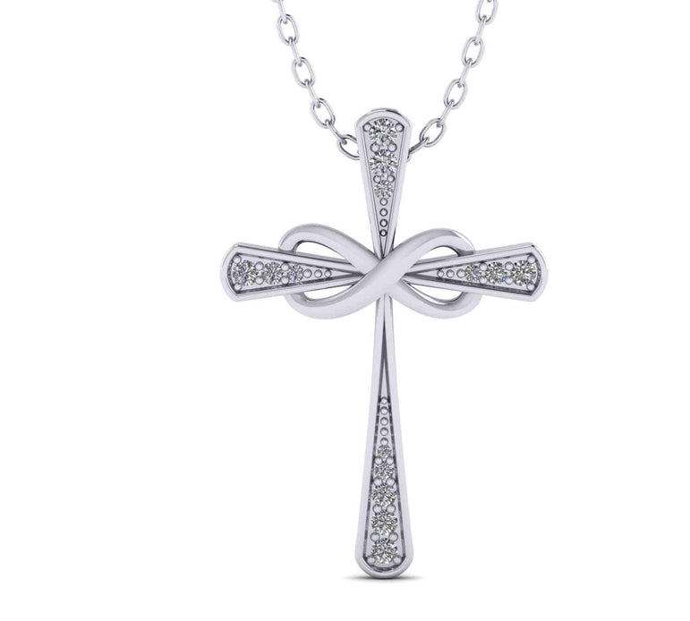 Infinity Cross Necklace for Women white gold