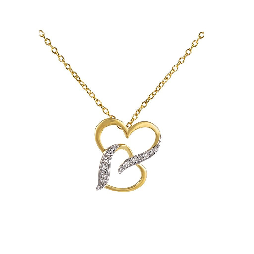 Darling Double Heart Charm 1/10 Cts. Round Diamond Pendant By Fehu Jewel