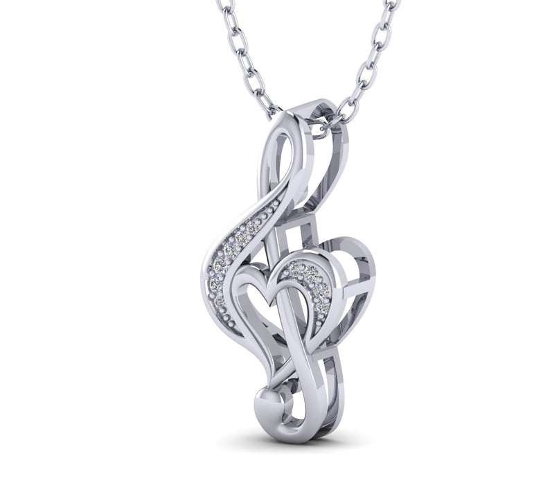 Heart Shapes Diamond Valentine Pendant Necklace in Gold Plated Silver by FEHU