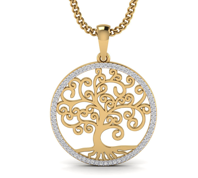 0.21cts Natural Diamond Tree of Life Pendant in Gold Plated Silver by FEHU