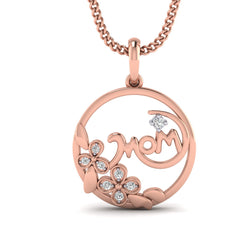 1/10 CT.WT Mom Diamond Pendant Necklace For Women By FEHU
