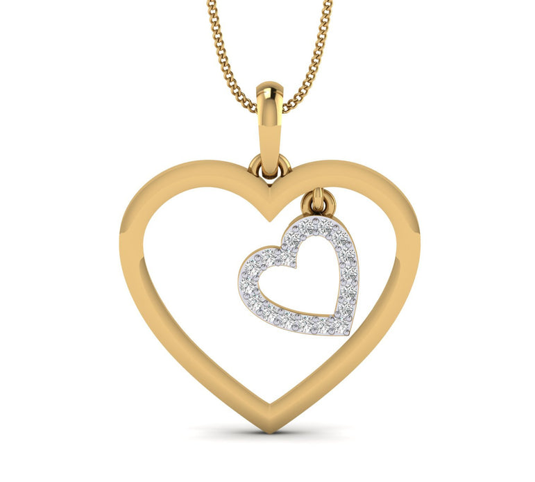 Dual Heart Yellow Gold Plated Silver Pendant
