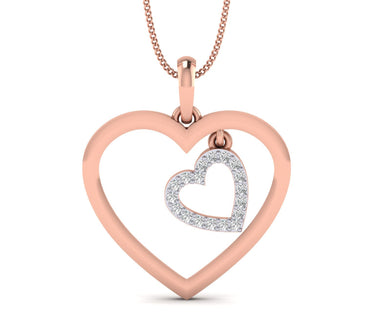 Dual Heart Rose Gold Plated Silver Pendant