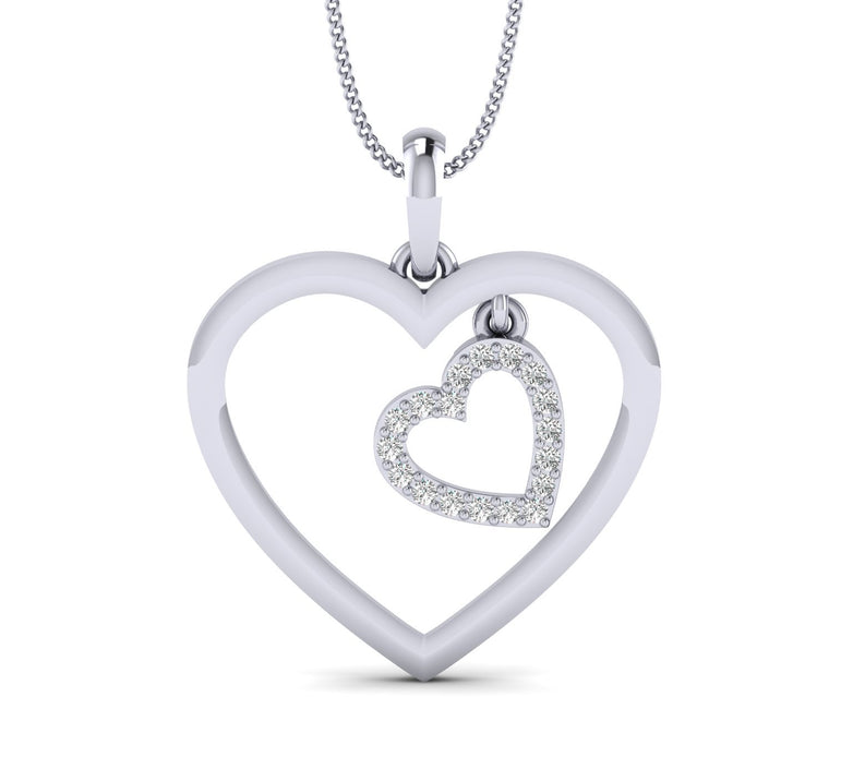 Dual Heart White Gold Plated Silver Pendant
