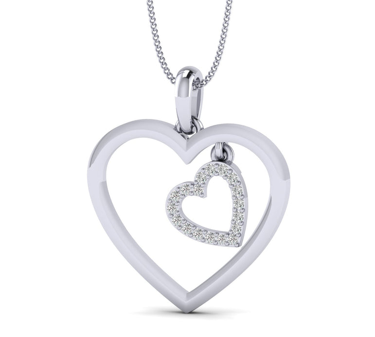 Dual Heart Natural Diamond Pendant Necklace in Gold Plated Silver For your Love.