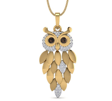 Yellow Gold Plated Hollow Owl shape Pendant