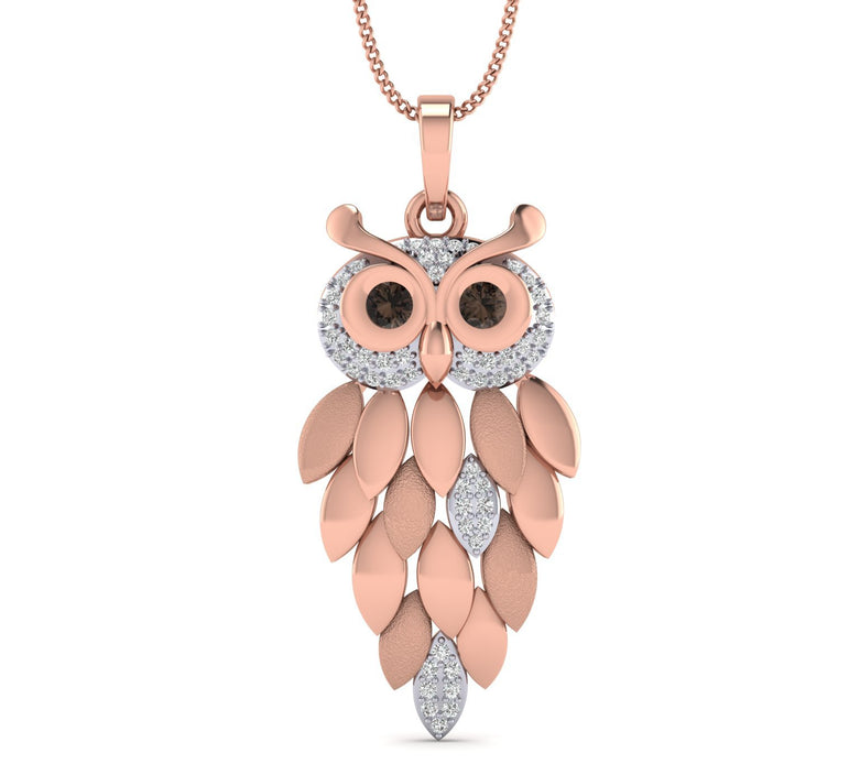 Rose Gold Plated Hollow Owl shape Pendant